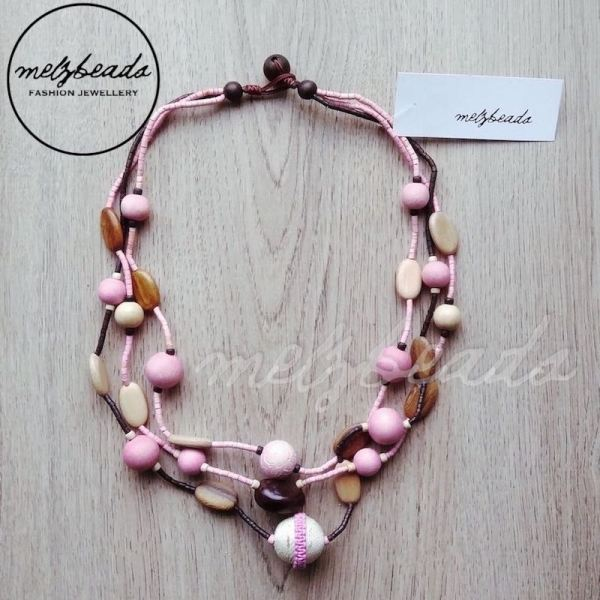 Three Strands Earth Tone Wooden Bead Necklace Pink