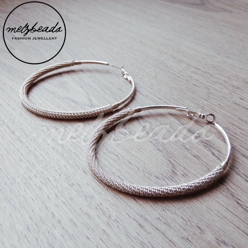 Large Meshed Silver Hoop Earrings