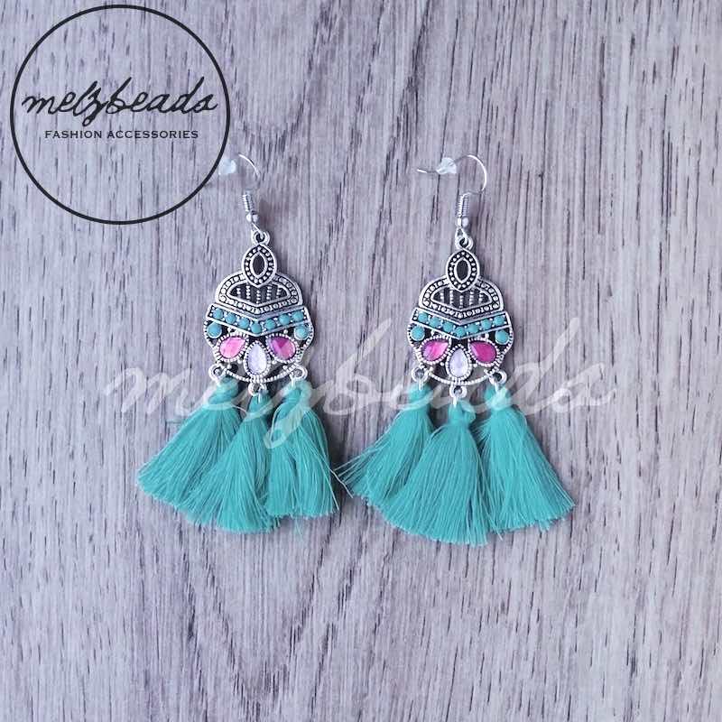 Turquoise Bohemian Tassel Earrings