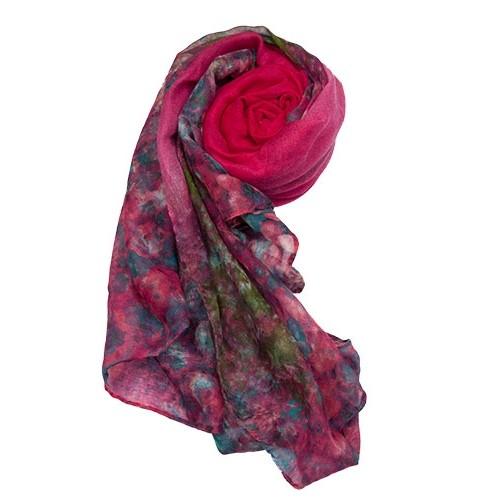 pink floral-print-scarf