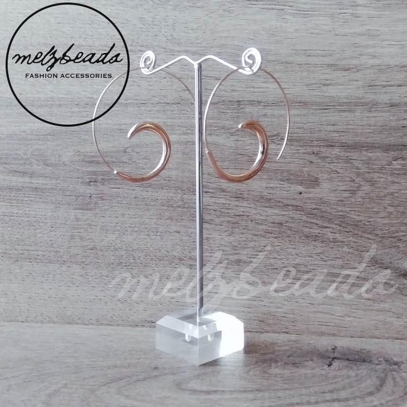 rose gold spiral hoop earrings