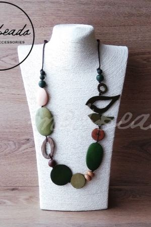 Natural green bird necklace