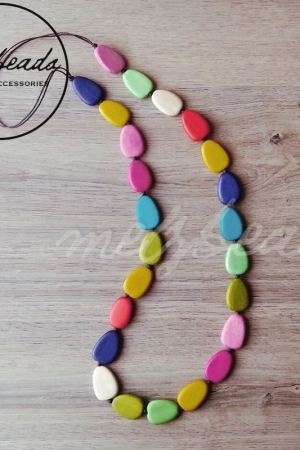 Long Colourful Beads Wooden Necklace