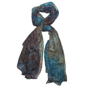 Blue printed cotton scarf