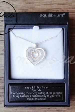 Equilibrium Matt Silver Oval Circle Heart Diamante Necklace