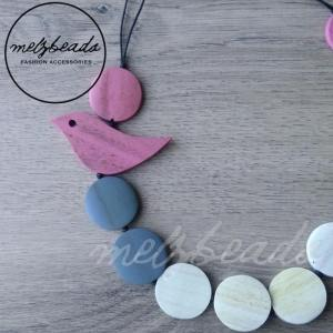 Pink Grey Wooden Bird Necklace