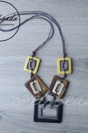 Geometric Rectangular Wooden Necklace