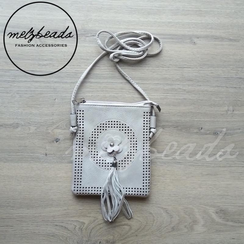 Grey Faux Leather Crossover Bag