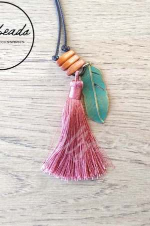 Long Purple Tassel Leaf Pendant Necklace