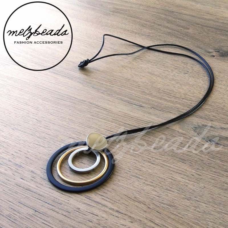 Black Silver Gold Long Metal Geometric Circle Necklace