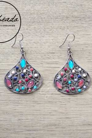 Teardrop Colourful Vintage Silver Earrings