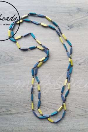 Extra Long Wooden Bead Necklace in Green Yellow Grey