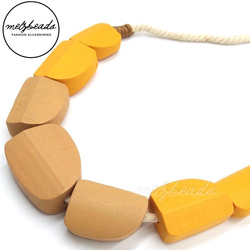 Cala Wooden Bead Mustard Necklace