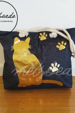 Large Black Gold Cat Paw Shopping Beach Bag