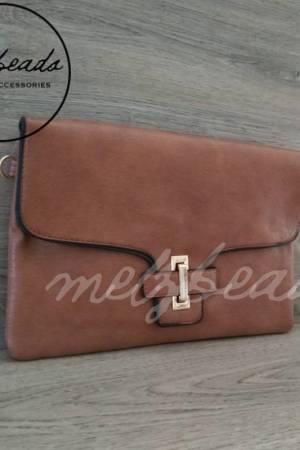 Brown Leather Clutch Shoulder Bag