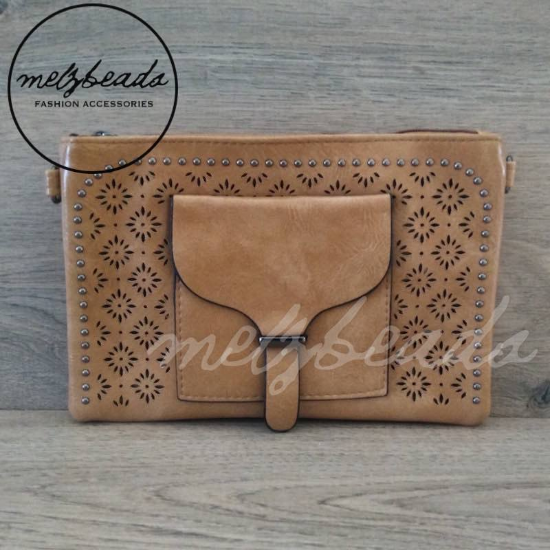 Coffee Leather Clutch Pattern Shoulder Bag