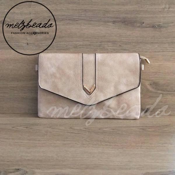 Beige Leather Clutch Shoulder Bag