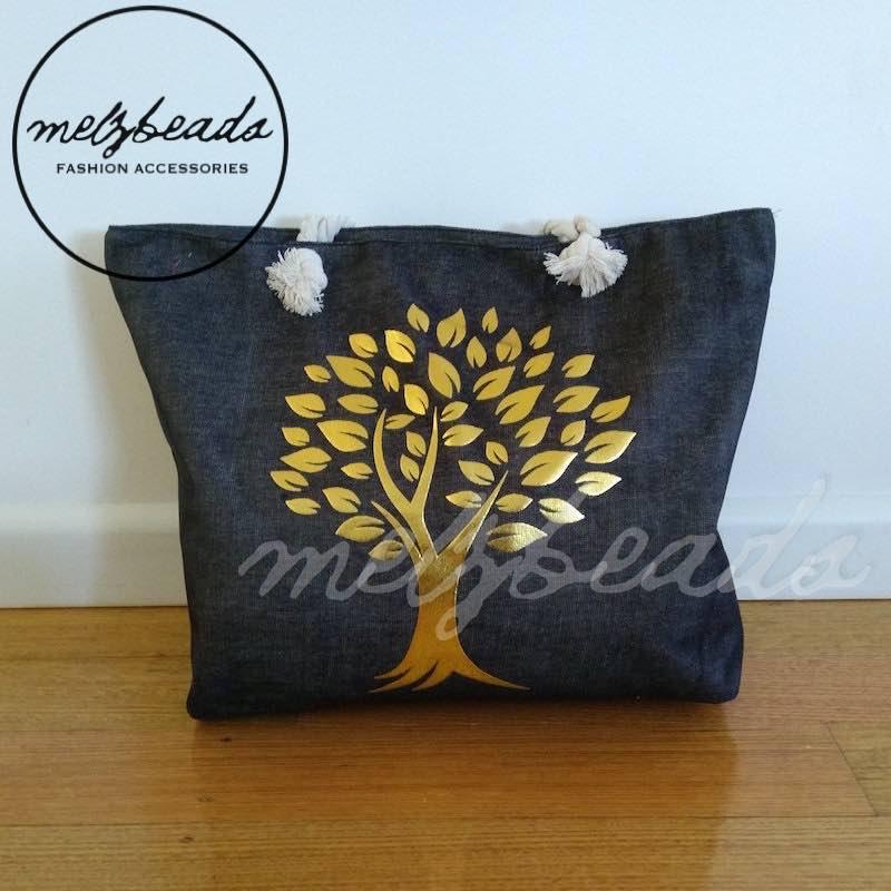 Large Black Gold Tree Shopping Beach Bag