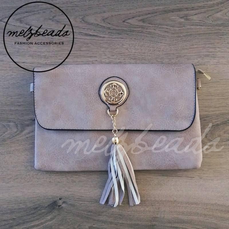 Beige Leather Clutch Shoulder Bag with Tassel