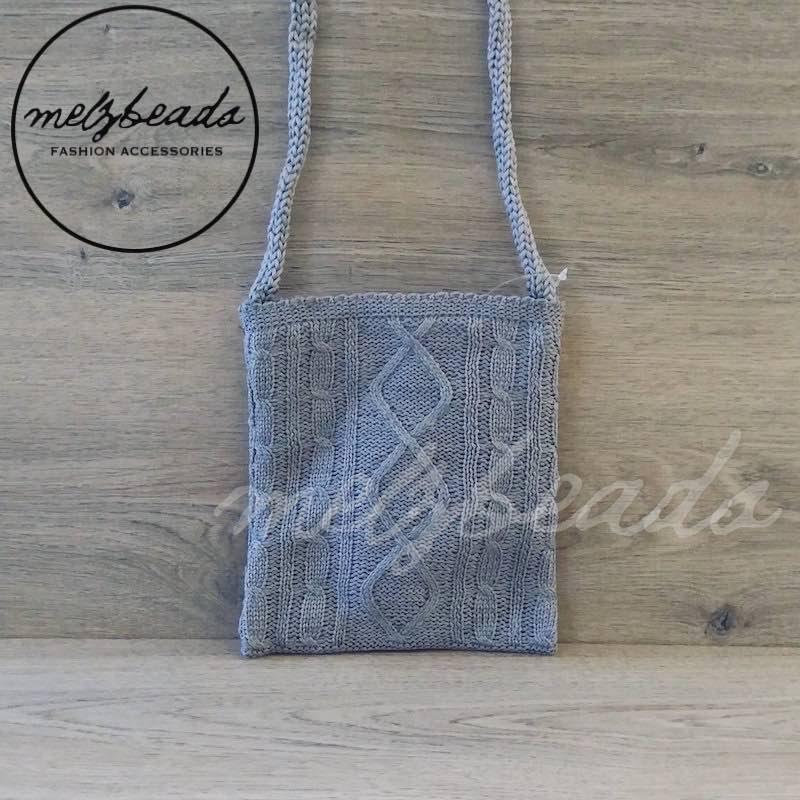 Grey Crochet Crossover Bag