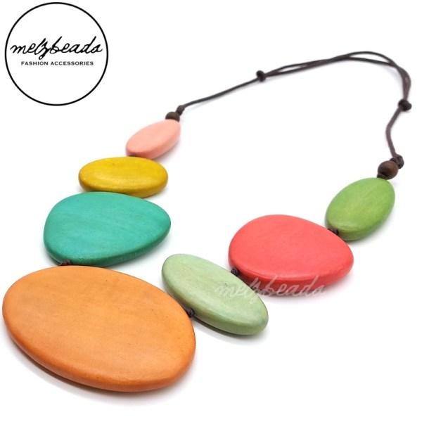Light Multi-Colour Multi Shape Wooden Necklace