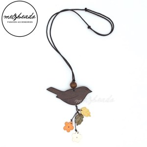 Brown Bird Leaves Flower Wooden Necklace