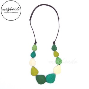 Multi-Colour Green Olive Wooden Necklace