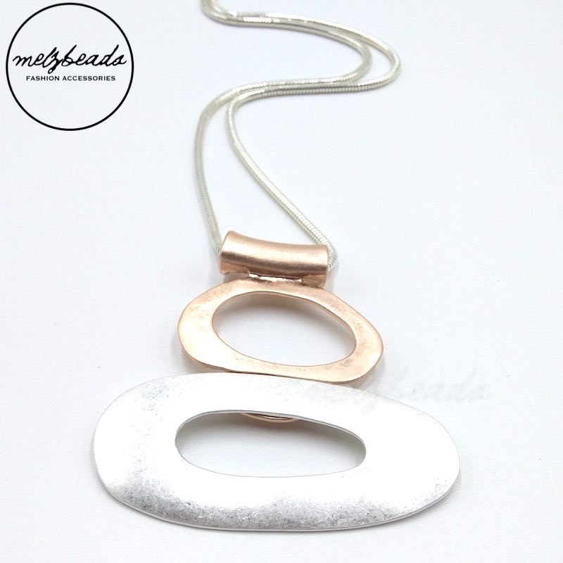 Long Silver Rose Gold Colour Oval Round Shape Metal Pendant Necklace