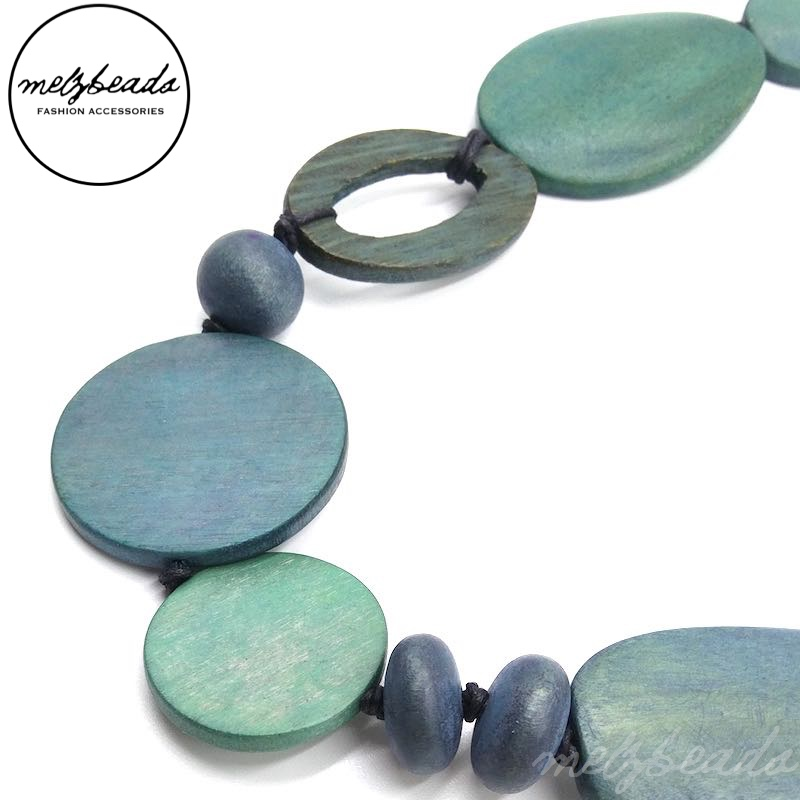 Blue Bird Oval Wooden Necklace