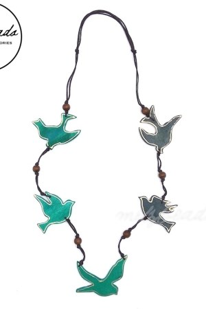Gold Edge Blue Turquoise Sparrow Bird Wooden Necklace