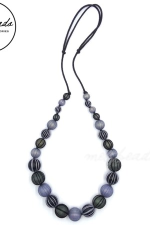 Grey Tone Wooden Round Beads Necklace