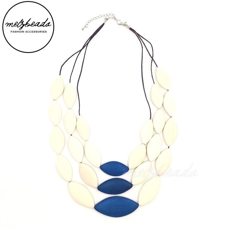 White Sand Blue Oval Bead Wooden Necklace