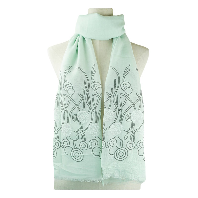 Abstract Forest Light Teal Scarf