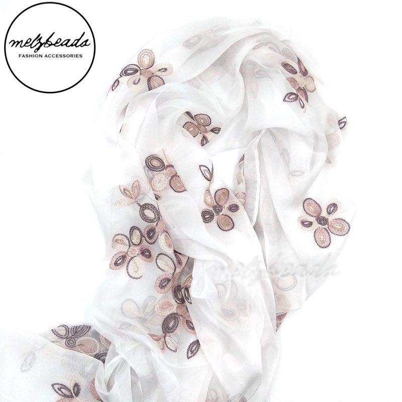 Cream Embroidered Flower Scarf