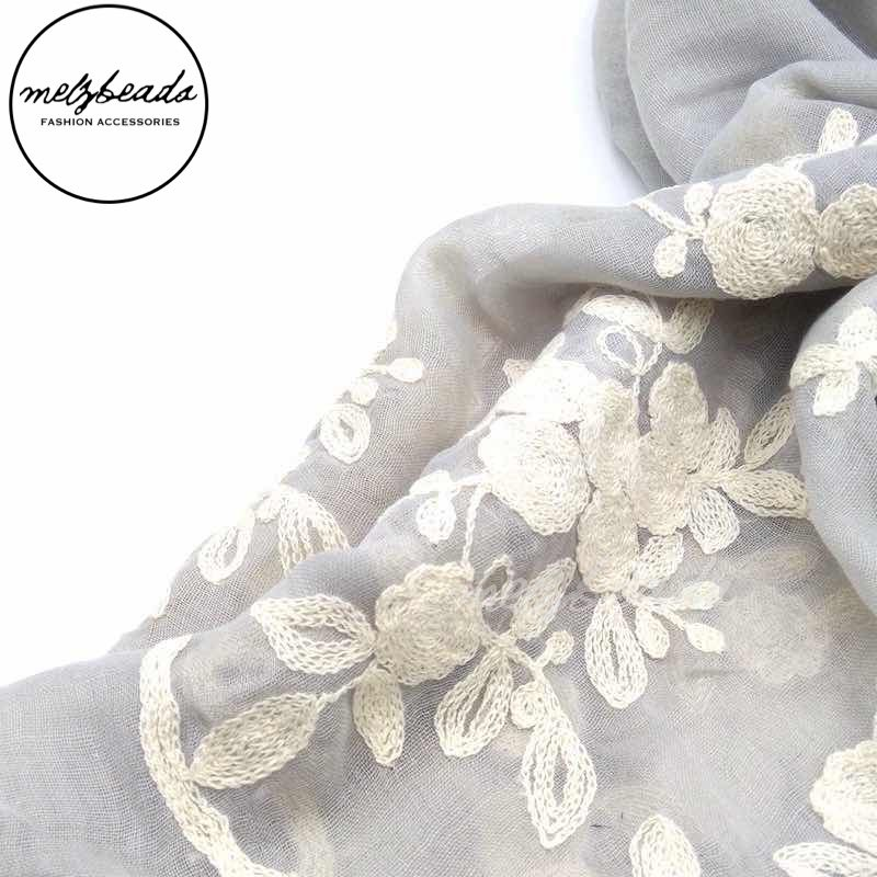 Spring Flower Embroidered Grey Scarf