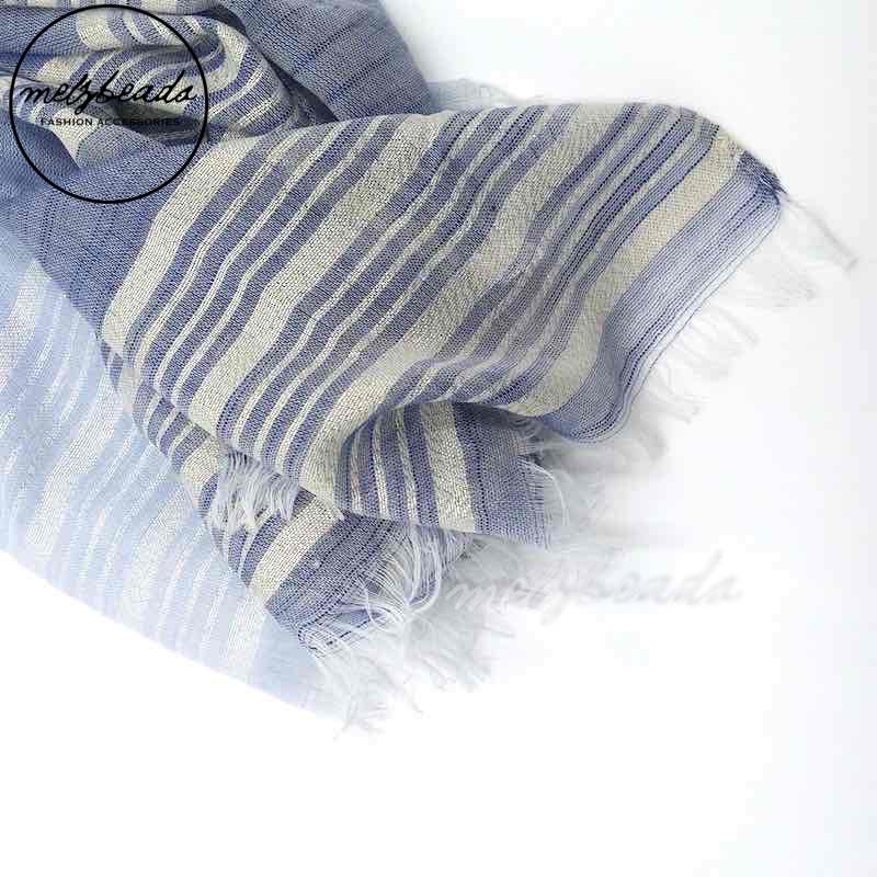 Blue Striped Shimmer Scarf