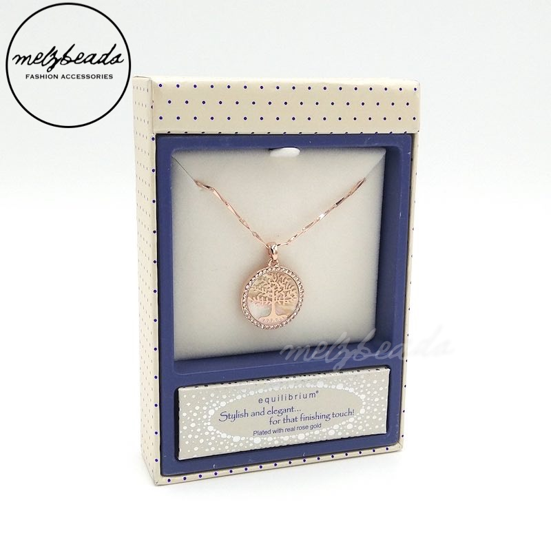Equilibrium Mother Of Pearl Tree Of Life Silver Rose Gold Necklace