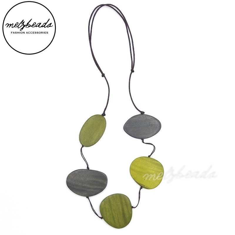 Lime Yellow Grey Flat Long Wooden Bead Necklace