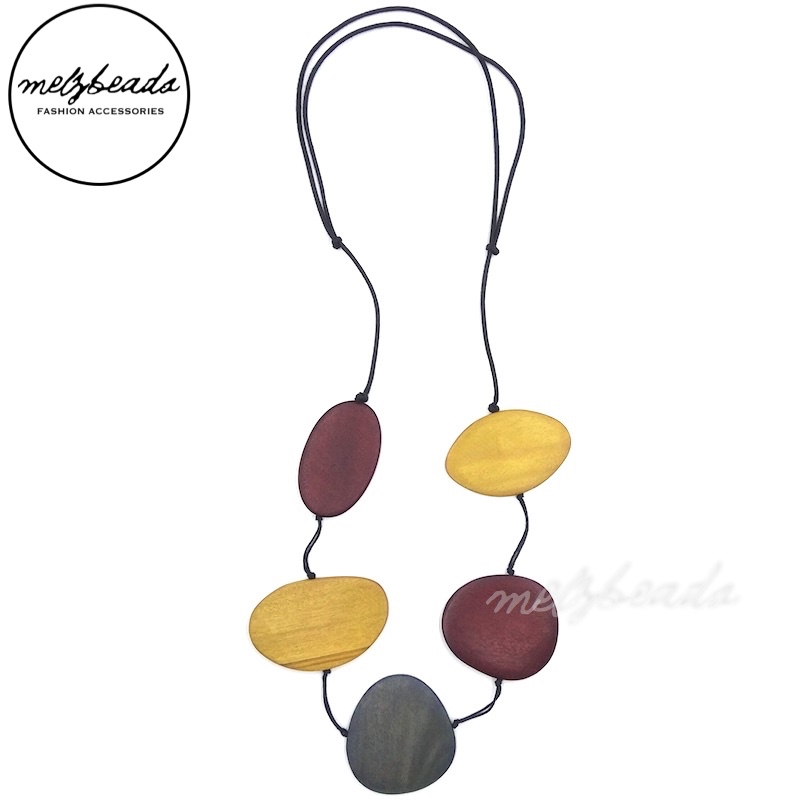 Mix Colour Large Flat Long Wooden Bead Necklace