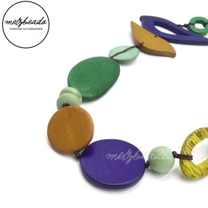 Mix Colour Bird Oval Wooden Beads Necklace
