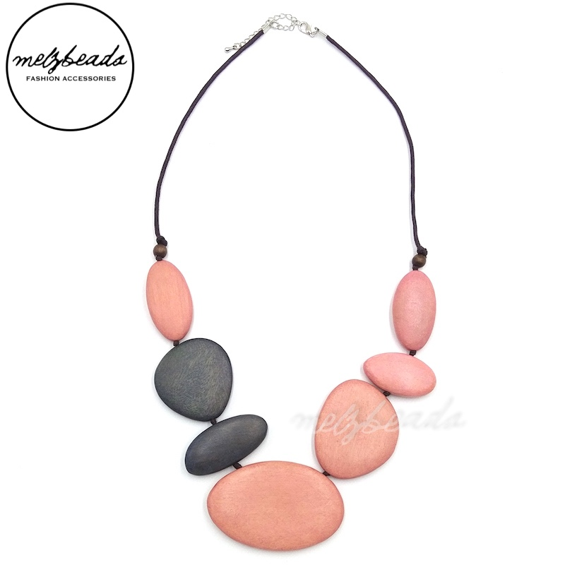 Pastel Pink Grey Tone Multi Shape Wooden Necklace