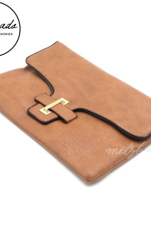 Brown Leather Clutch Shoulder Bag - Liliane