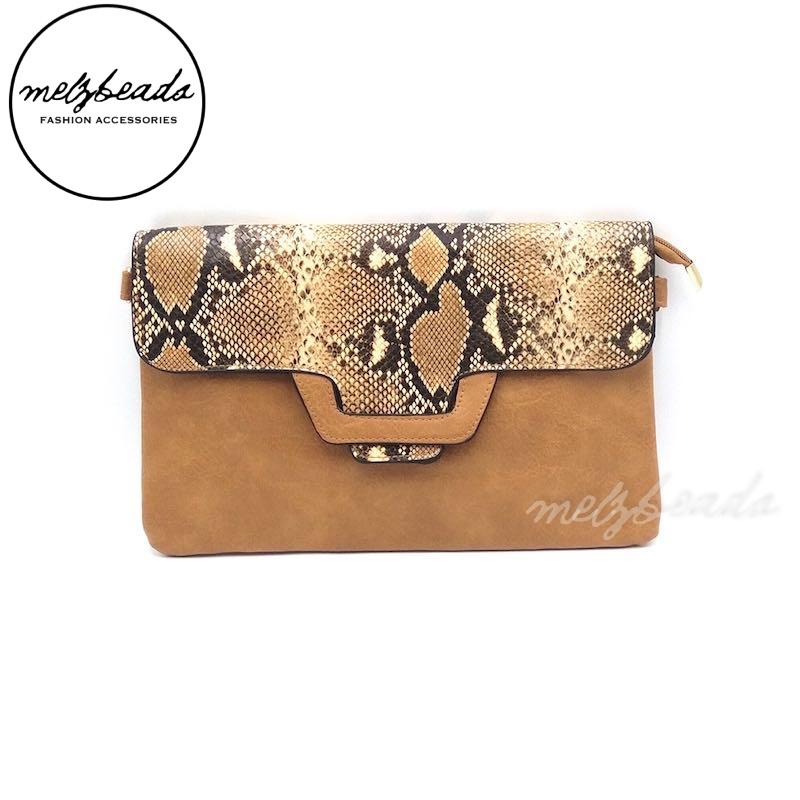 Brown Leather Fake Snake Skin Clutch Shoulder Bag - Varda