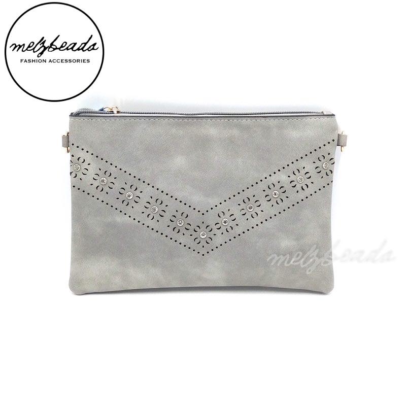 Grey Leather Clutch Pattern Shoulder Bag - Dianella