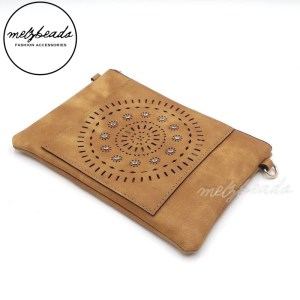 Brown Sand Leather Clutch Pattern Shoulder Bag with Diamante - Nigella