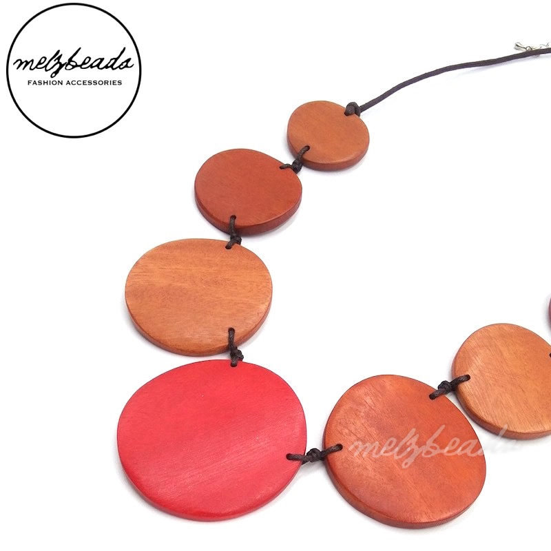 Red Orange Round Oversized Wooden Bead Necklace