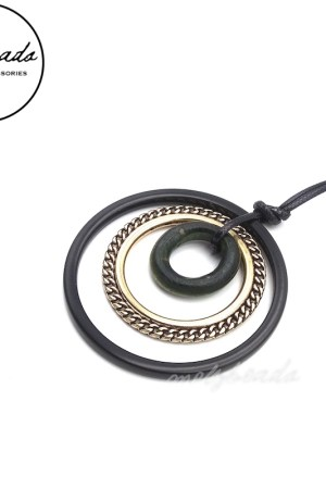 Black Gold Long Metal Geometric Circle Pendant Necklace
