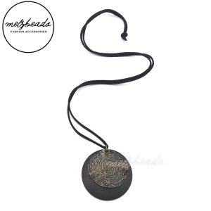 Dark Brown Long Timber and Metal Disc Necklace