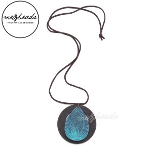 Zena Turquoise Long Pendant Necklace Wooden Disc
