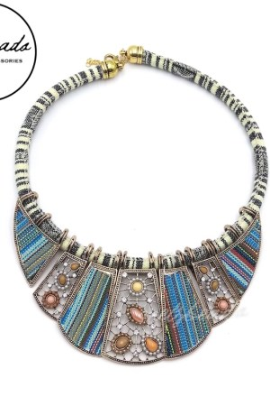 Blue Bohemian Tribal Statement Necklace